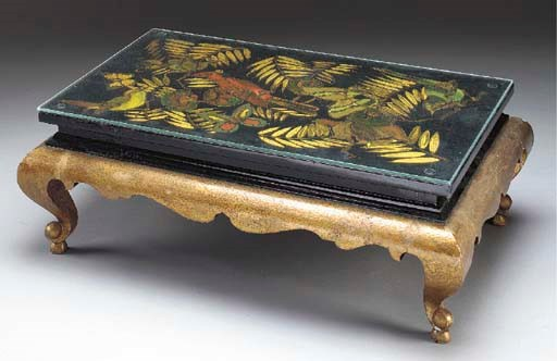 A BLACK POLYCHROME AND GILT LA