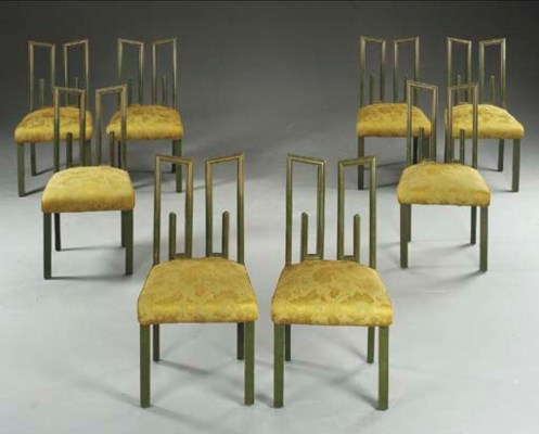 A SET OF EIGHT GREEN-LACQUERED