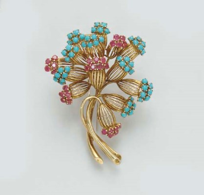 A RUBY AND TURQUOISE BROOCH