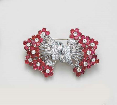 A RUBY AND DIAMOND DOUBLE CLIP