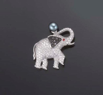 BROCHE ELEPHANT DIAMANTS, PAR