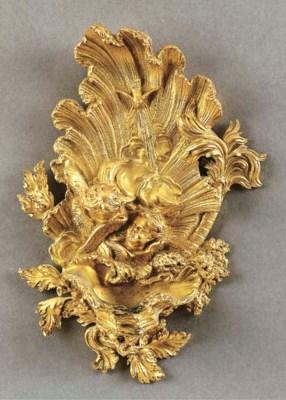 Acquasantiera in bronzo dorato