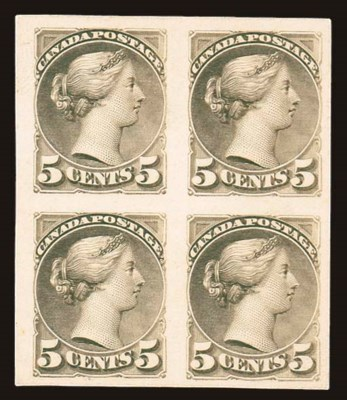 Proof Block of Four  5c. olive