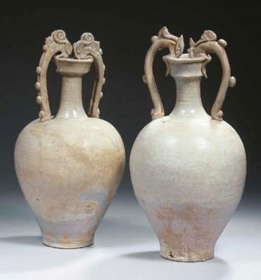Two glazed stoneware amphoras