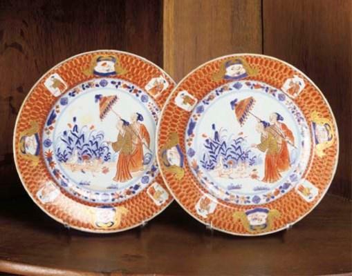 Two Chinese Imari pronk plates