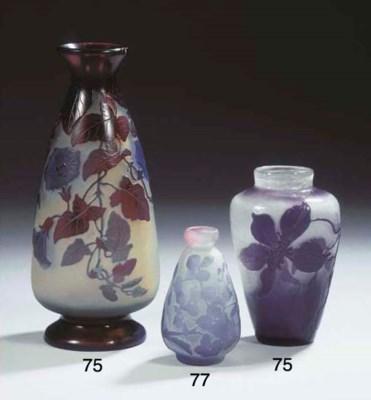 A fire-polished cameo glass va