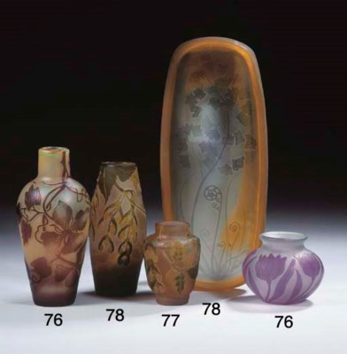 (2) A cameo glass vase
