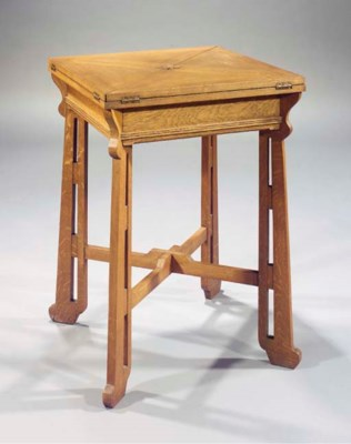An oak games table