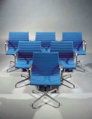 Six blue upholstered Aluminium