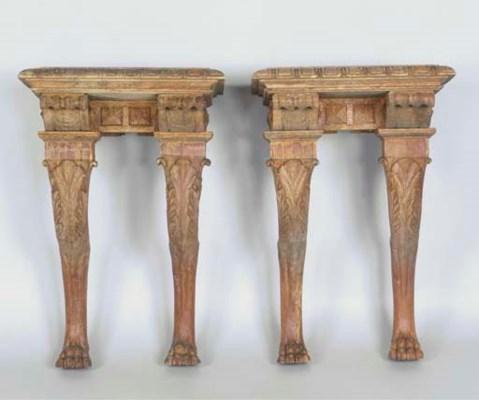 (2)A pair of German oak consol