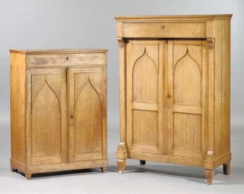 (2) A Dutch oak cupboard