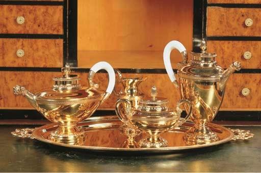 (5)  A five-piece silver gilt