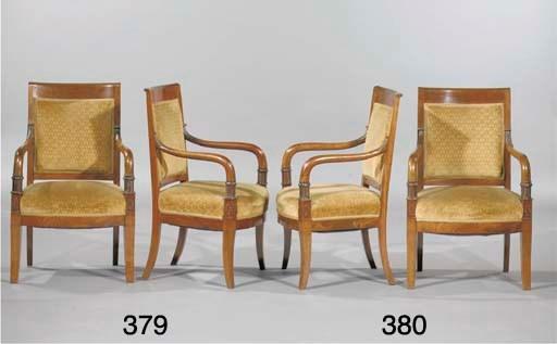 (2) A pair of Empire mahogany