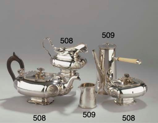 (2) A Dutch silver coffee pot