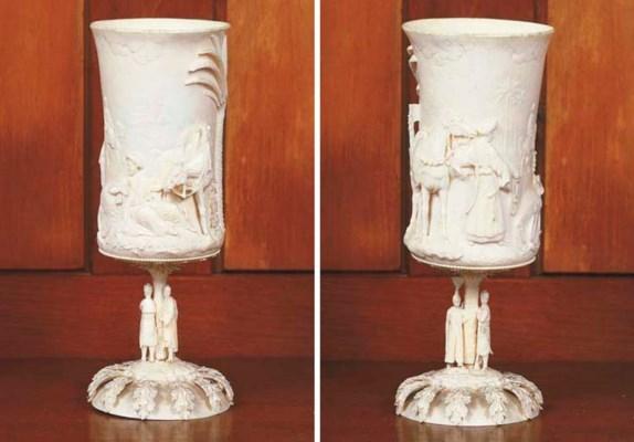 A carved ivory beaker