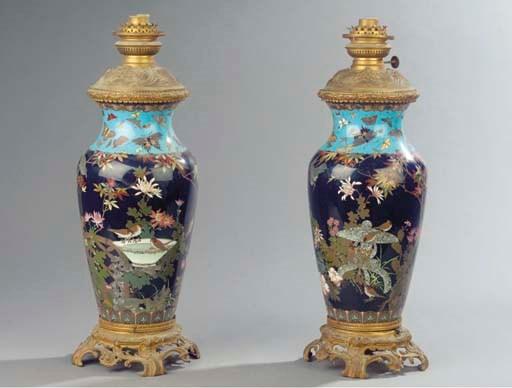 (2) A pair of ormolu-mounted J
