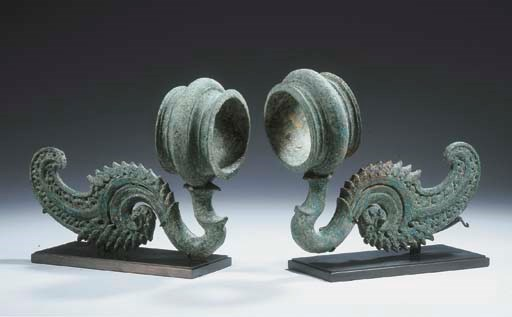 (2) a pair of khmer bronze rin