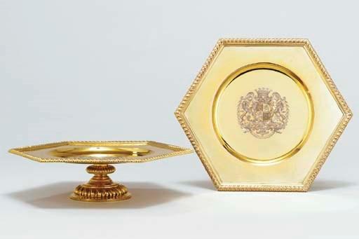 A pair of silver-gilt octagona