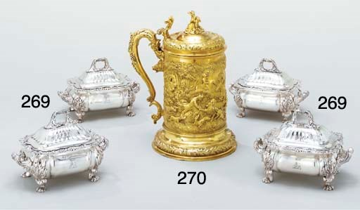 A large George IV silver-gilt