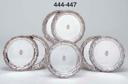 A pair of German silver salver