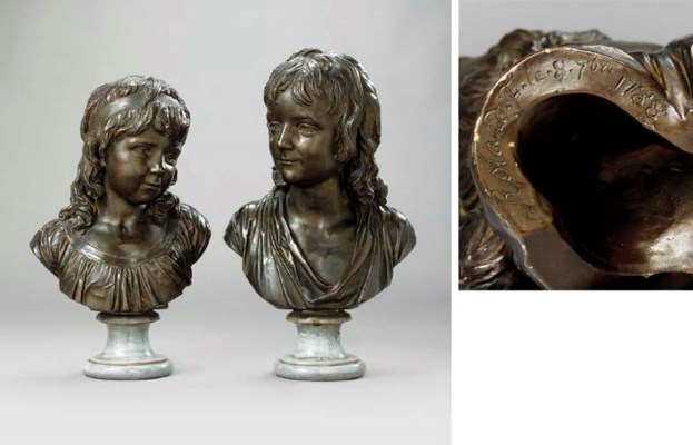 A PAIR OF PATINATED TERRACOTTA