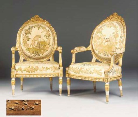 A PAIR OF LOUIS XVI CREAM-PAIN