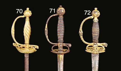A SMALL-SWORD WITH GILT-BRONZE