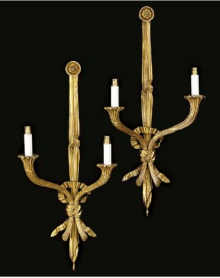 A pair of gilt metal twin ligh