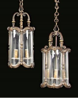 A pair of brass lanterns