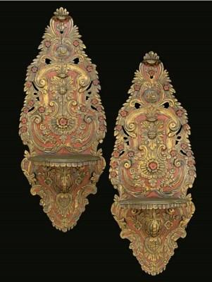 A pair of Turkish parcel-gilt,