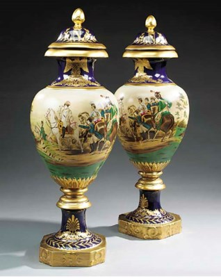A pair of porcelain vases and