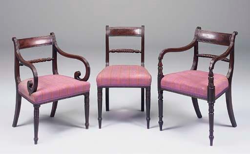 A set of five Regency mahogany