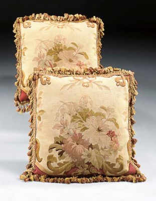 TWO AUBUSSON TAPESTRY CUSHIONS