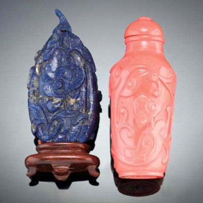 A CORAL SNUFF BOTTLE 19TH CENT