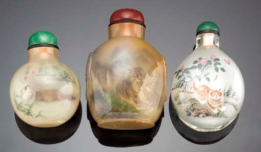 AN INSIDE PAINTED GLASS SNUFF