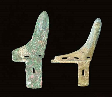 TWO CHINESE BRONZE AXE BLADES