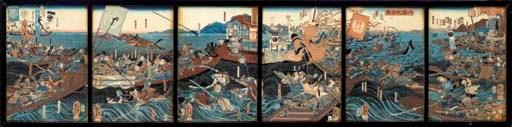 KUNIYOSHI, A SIX PANEL OBAN WO