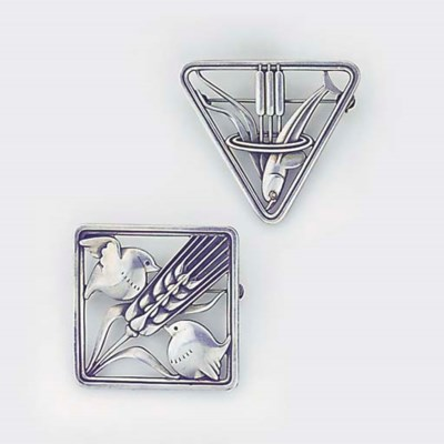 Two Georg Jensen silver brooch