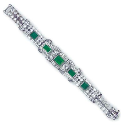 A platinum, emerald and diamon
