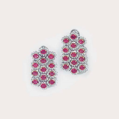 A pair of ruby and diamond mul