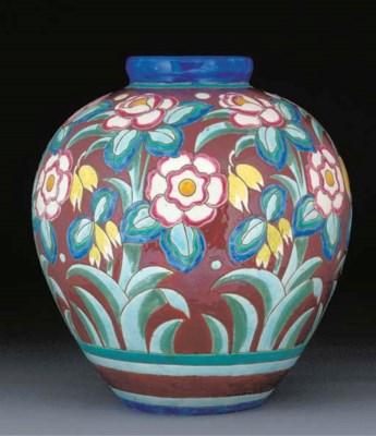 A large earthenware vase