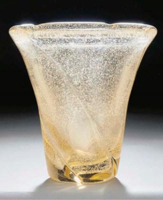 A bubbled glass vase