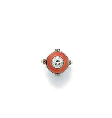 A diamond and coral ring,