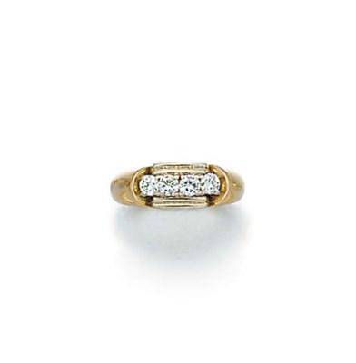A diamond four stone ring,
