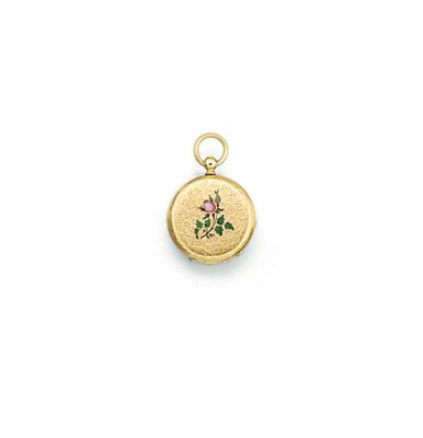 A miniature gold and enamel cy