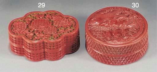 A cinnabar lacquer lobed box a