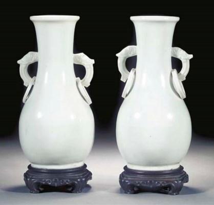 A pair of blanc de chine pear-