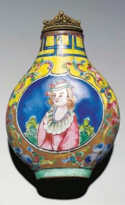 A Canton enamel snuff bottle,