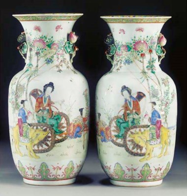 A pair of famille rose vases,