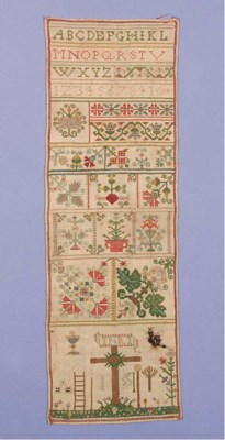 A sampler, worked in coloured